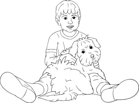 happy little boy playing with his  puppy Vector
