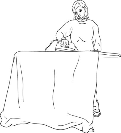 electric iron: Young woman ironing isolated on background Illustration
