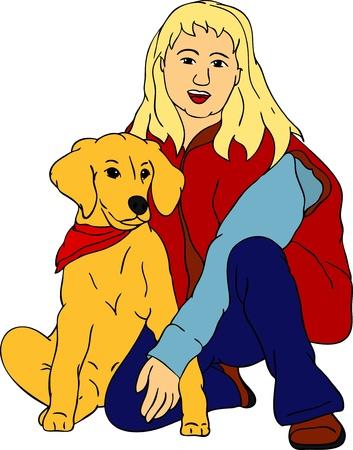 vector - young girl with her puppy golden Retriever Vector