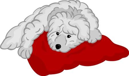 Vector - piccolo cucciolo sdraiato sul tappetino rosso, isolato sullo sfondo
