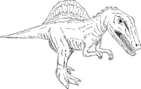 spinosaurus: vector - dino - Spinosaurus -  isolated on background Illustration