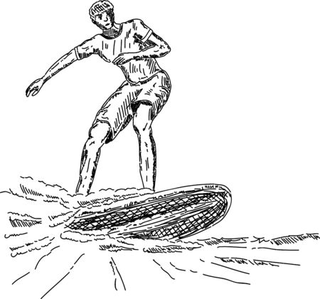 vector - surfer  on  wave , isolated on background Vector