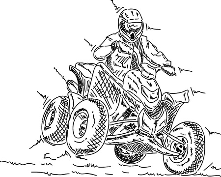 off road: vector - four wheeler jump, isolated on background