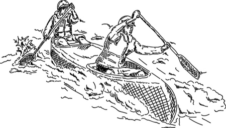 boat party: vector - canoeists paddling through white water