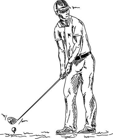 vector - golf player teeing off golf ball , Stock Vector - 9653267
