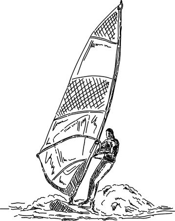 windsurf: vector - man wind surfing, isolated on background Illustration