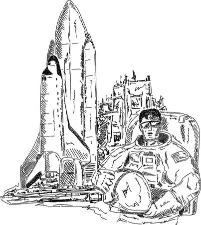 vector - spaceman met space shuttle, hand tekenen