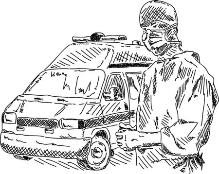 vector - doctor with ambulance car, hand drawing Vector