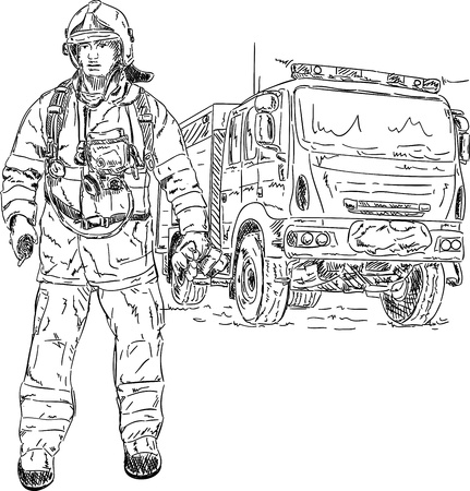firefighter uniform: vector - firefighter with engine , hand draw, isolated on background