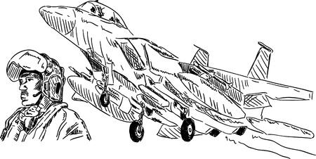 Vector - piloto militar y su airplan militar Ilustración de vector