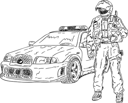 the police man with car isolated on background Vector