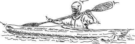 kayaker: man kayaking - isolated on background