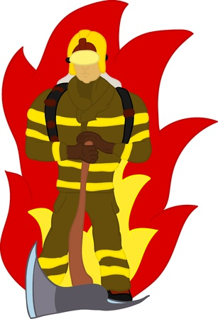 firefighter with axe and fire , hand draw, isolated on background Vector