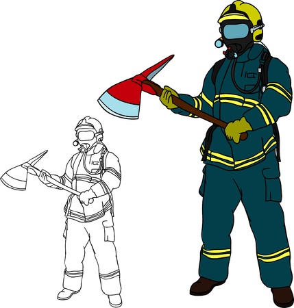 firefighter uniform: firefighter with axe , hand draw, isolated on background