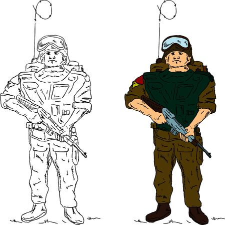 commando: a soldier holding gun , hand draw, isolated on background