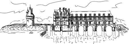 castle Chenonceau,  Loire Valley, France. Vector
