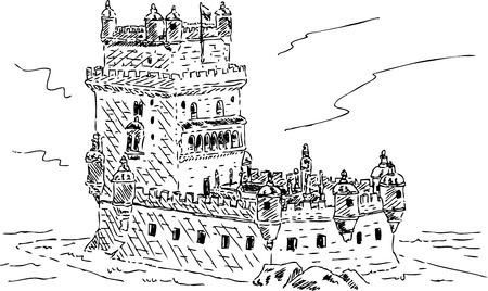 belem: vector - tower of belem in Portuguese in Lisbon