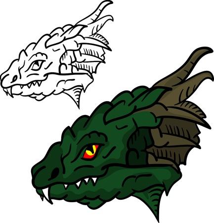 cabeza de dragon: Vector - conjunto de cabeza de drag�n aislada sobre fondo Vectores