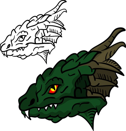 vector - set of dragon head isolated on background Vector