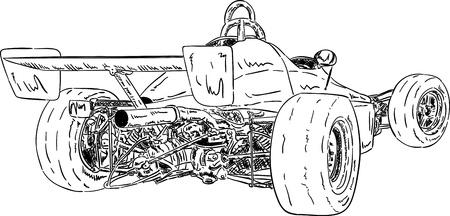 formula car: vector - historical super sport car isolated on background Illustration