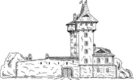 old castle ( in town Frydek Mistek at Czech republic, at Europe ) Vector