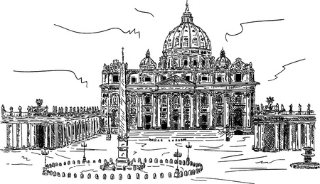 roma antigua: Vector - mano dibujar la Basílica de San Pedro, Vaticano, Roma, Italia