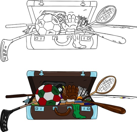 Open suitcase full of things, isolated on background Vector