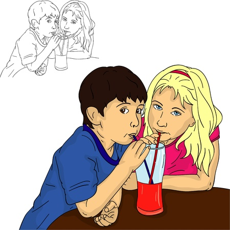 boy and girl drinks orange together Stock Vector - 10631502