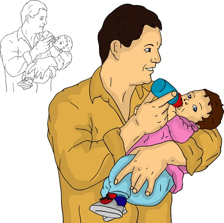 father with his baby, isolated on background Vector