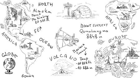 aardrijkskunde thema, geà ¯ soleerd op achtergrond Vector Illustratie