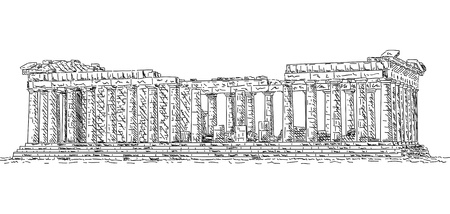 greek column: hand draw Pantheon , Greece, isolated on background Illustration