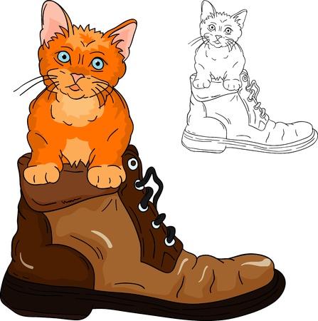 Adorable little kitten inside a boot Stock Vector - 10833436