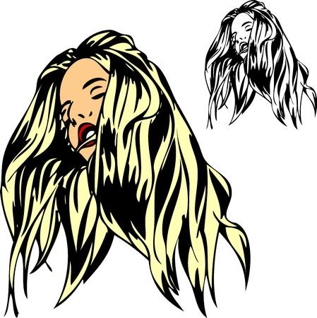 molto lunga donna dai capelli, isolato su sfondo