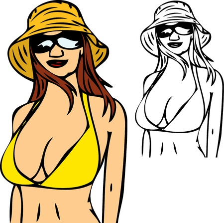 nice brunet girl with swimsuit, isolated on background Vector
