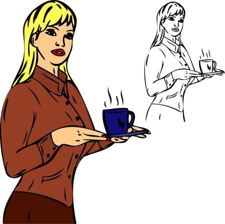 serve: Coffee serving secretary, isolated on background Illustration