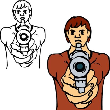 paint gun: bad boy with gun, isolated on background