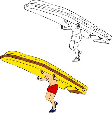 carries: giovane porta grande gommone