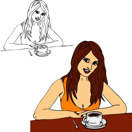 woman drinking coffee: Happy woman drinking coffee, isolated on background