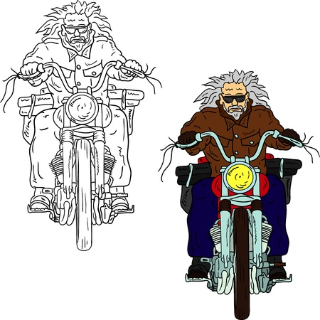 cartoon biker: vector - Old  Biker isolated on background