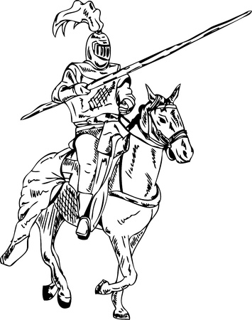 cavalier: vector -  knight on horse isolated on background Illustration