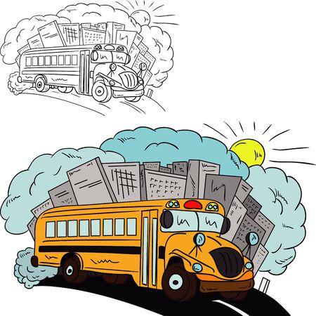 transporte escolar: vector - Shool bus aislado en el fondo Vectores