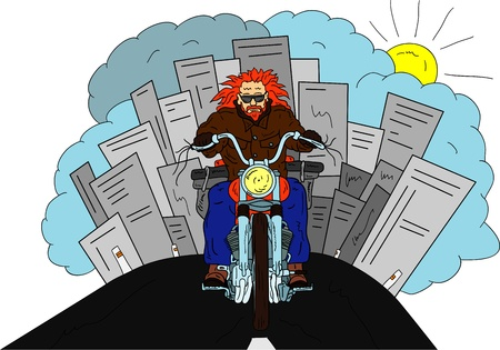 vector - Old  Biker isolated on background