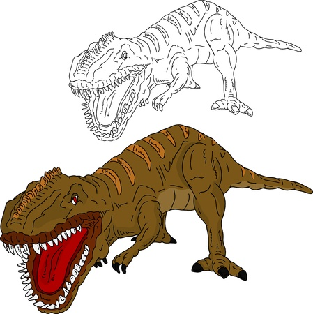 vector - dinosaur attacking , isolated on background Vector