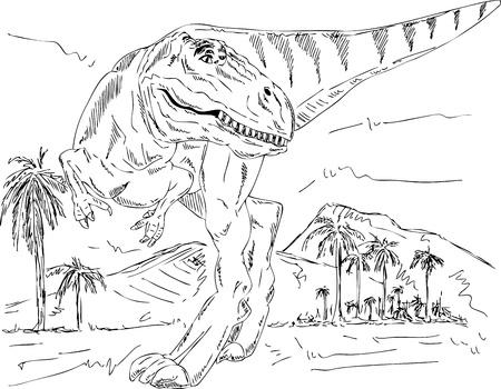 tiranosaurio rex: vector - la naturaleza a pie del dinosaurio prehistórico, aislado en el fondo