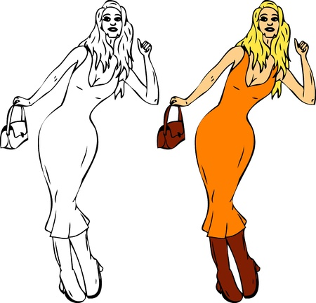 blonde haired: vector - Women hitch-hiking  , isolated on background