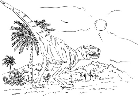 vector - dinosaur walking prehistoric nature , isolated on background Vector