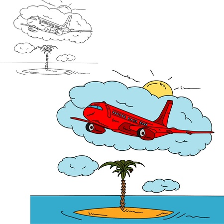 vector - Airplane over island , isolated on background Vector