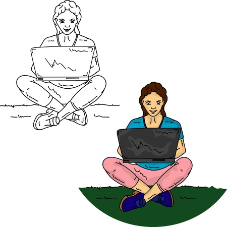 Vector - Girl sitting on grass with notebook, isolated on background Vector