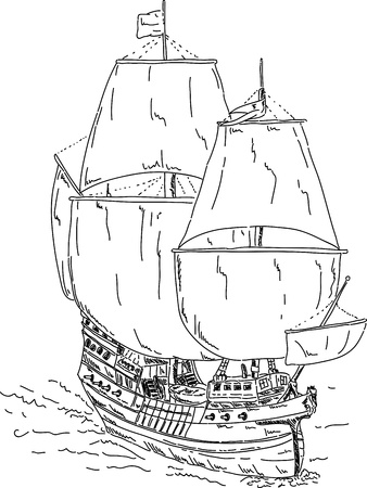galleon: vector - Vintage Frigate , hand draw, islolated on background