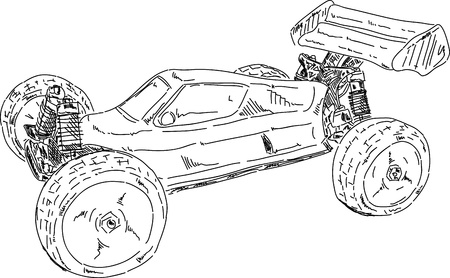 offroad: vector - hand draw RC buggy car isolated on background